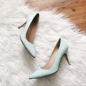 J. Crew | Pastel Tiffany Blue Leather Heels